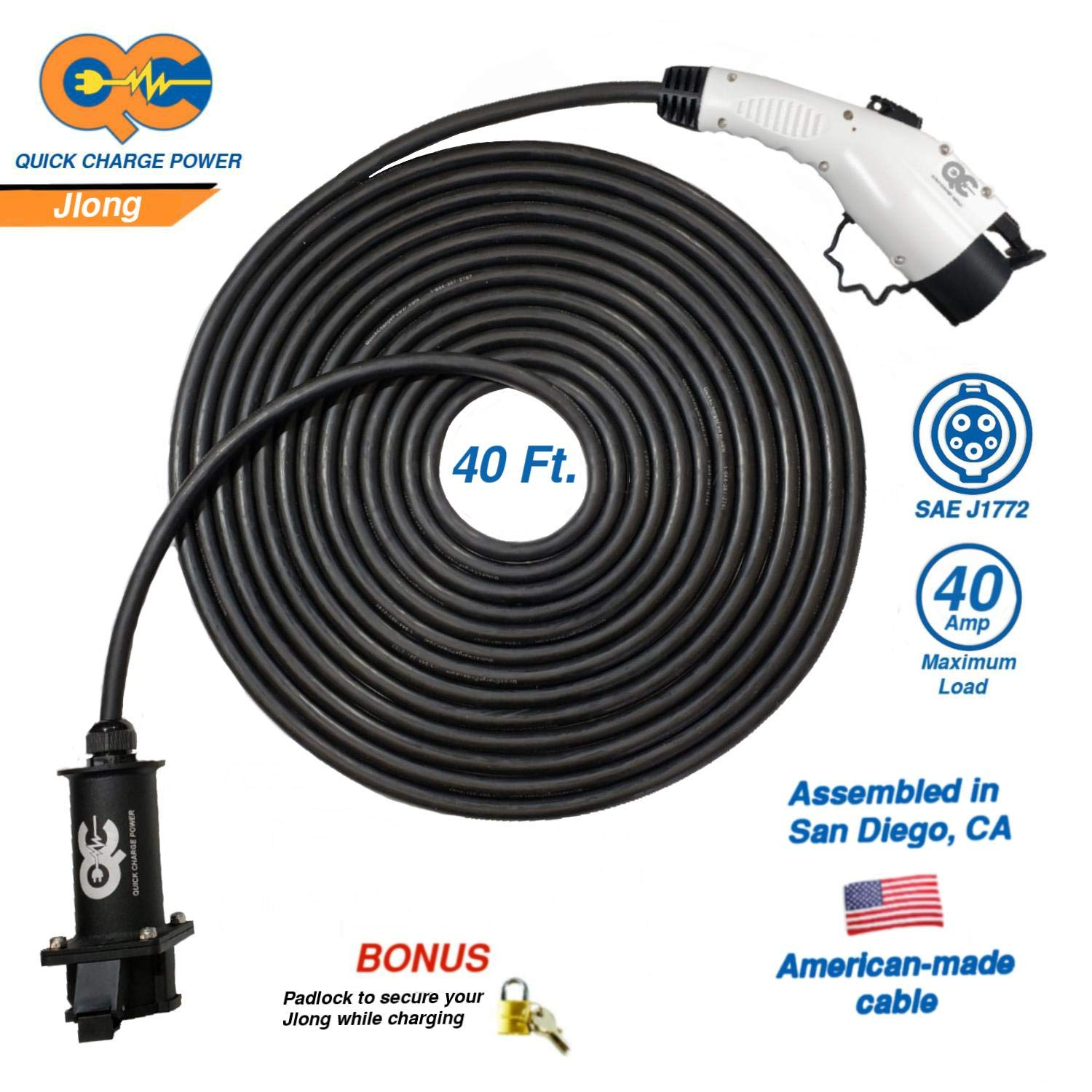 JLONG - 40 Amp, 40ft, J1772 extension cable