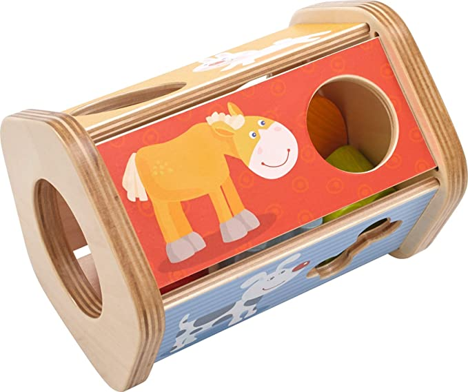 HABA Snack Stack Sorting Box - Five Sided Wooden Shape Sorter Matches Animals to Their Favorite Foods