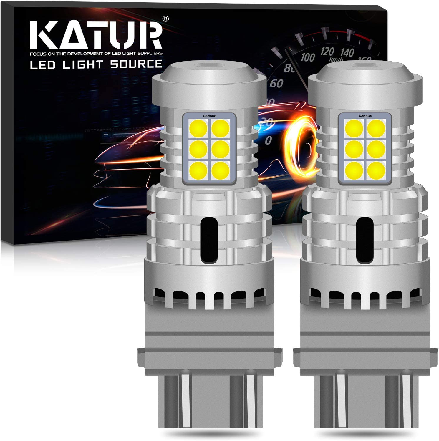 Pack of 2 KATUR 3157 3057 T25 P27//7W LED Bulbs Super Bright 12pcs 3030 /& 8pcs 3020 Chips Canbus Error Free Replace for Turn Signal Reverse Brake Tail Stop Parking RV Lights,Xenon White