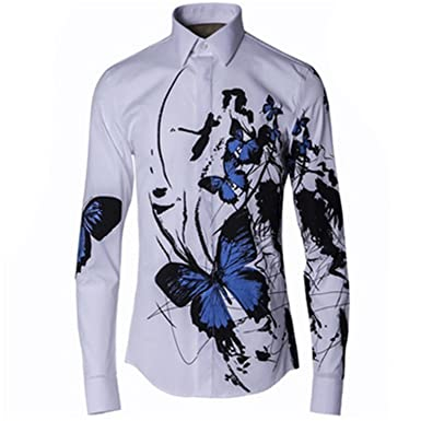 a3b69e352929 Karl Conner Men Ink Blue Butterfly Print Floral Shirts Men Long ...