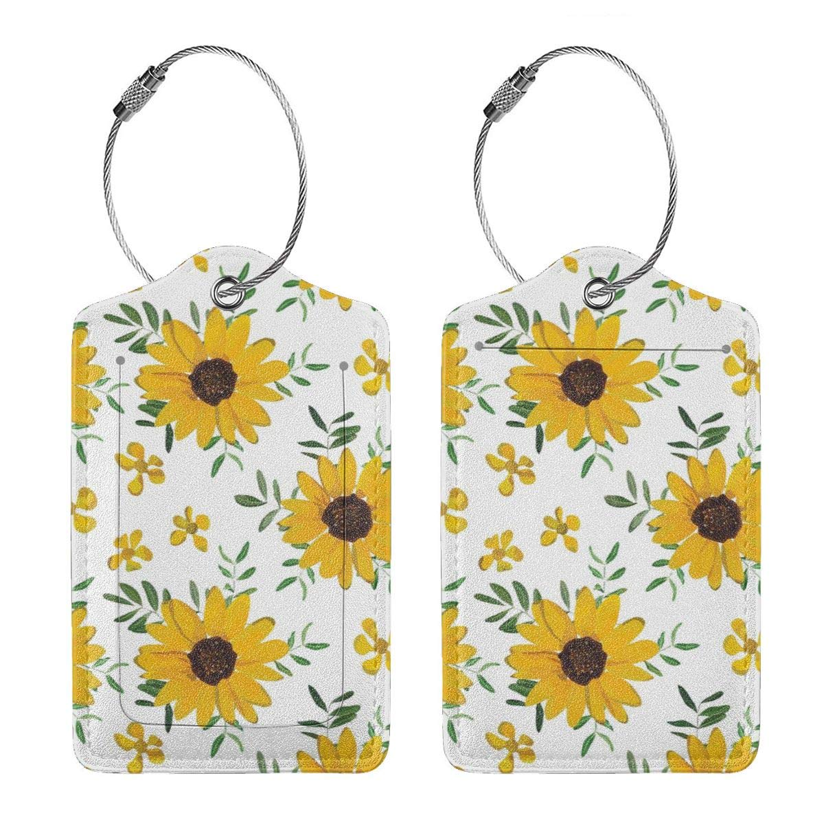 Vintage Yellow Sunflower Luggage Tag Label Travel Bag Label With Privacy Cover Luggage Tag Leather Personalized Suitcase Tag Travel Accessories