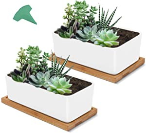 GROWNEER 2 Packs 6.7 Inches Small Rectangular White Ceramic Succulent Planter Pot Window Box Flower Pots with 15 Pcs Plant Labels, Porcelain Planters with Bamboo Trays for Gift, Home Décor