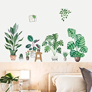 MOLANCIA Green Potted Plant Wall Decal, Monstera Palms Tree Leaf Wall Stickers, Peel and Stick Fresh Leaves Wallpaper, Removable Nature Tropical Bonsai Leaf Stickers Art Murals for Bedroom Living Room