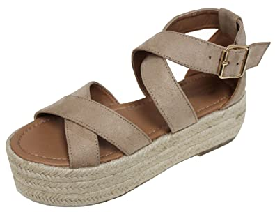 a39f3819f93 Cambridge Select Women s Open Toe Crisscross Ankle Strappy Woven Braided  Espadrille Flatform Sandal (6 B