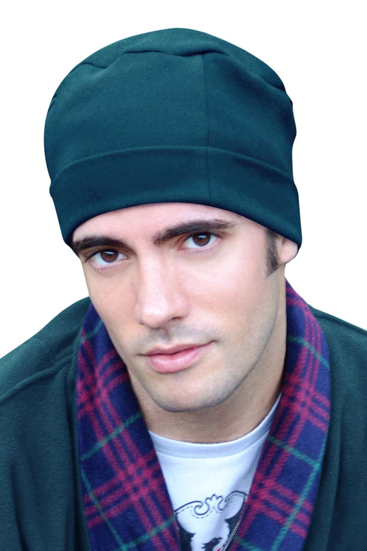 Headcovers Unlimited Mens Sleep Cap - 100% Cotton Night Cap for Men - Sleeping Hat Blue Neptune