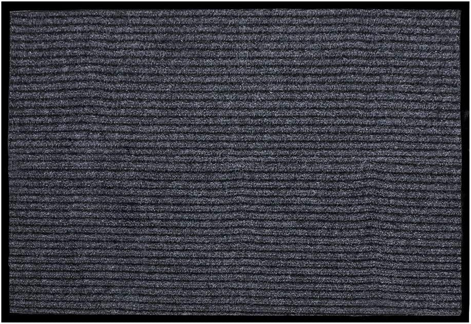 """fani Heavy Duty Large Grey Striped Floor Door Mats Entryway Welcome Mats Outdoor Indoor Entrance Doormat Waterproof Low Profile Home Rug Mats with Anti-Skid Rubber Back (Gray, 23"""" x 35"""")"""