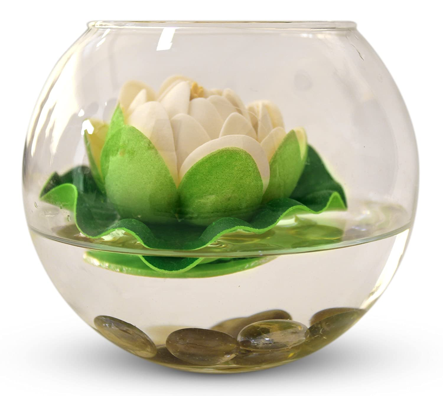 Buy Tied Ribbons Round Glass Vessel Vase With Faux Lotus Flower And