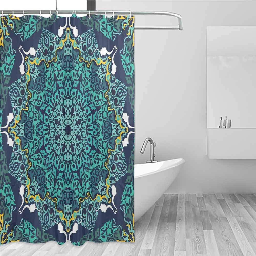 BE.SUN Travel Shower Curtain,Turkish Pattern,Fashionable Pattern,W72x72L Turquoise Dark Blue Yellow by BE.SUN