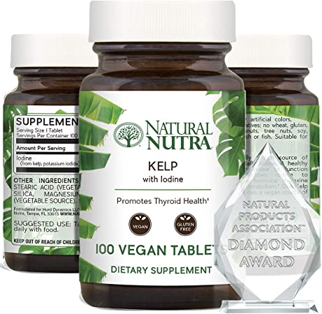 Natural Nutra Kelp Iodine Supplement, Thyroid Support, Strengthen Immune System, Regulates Metabolism, Boost Cognitive Ability, Vegan Sea Kelp, Atlantic Sourced Seaweed Extract, 225 mcg, 100 Tablets