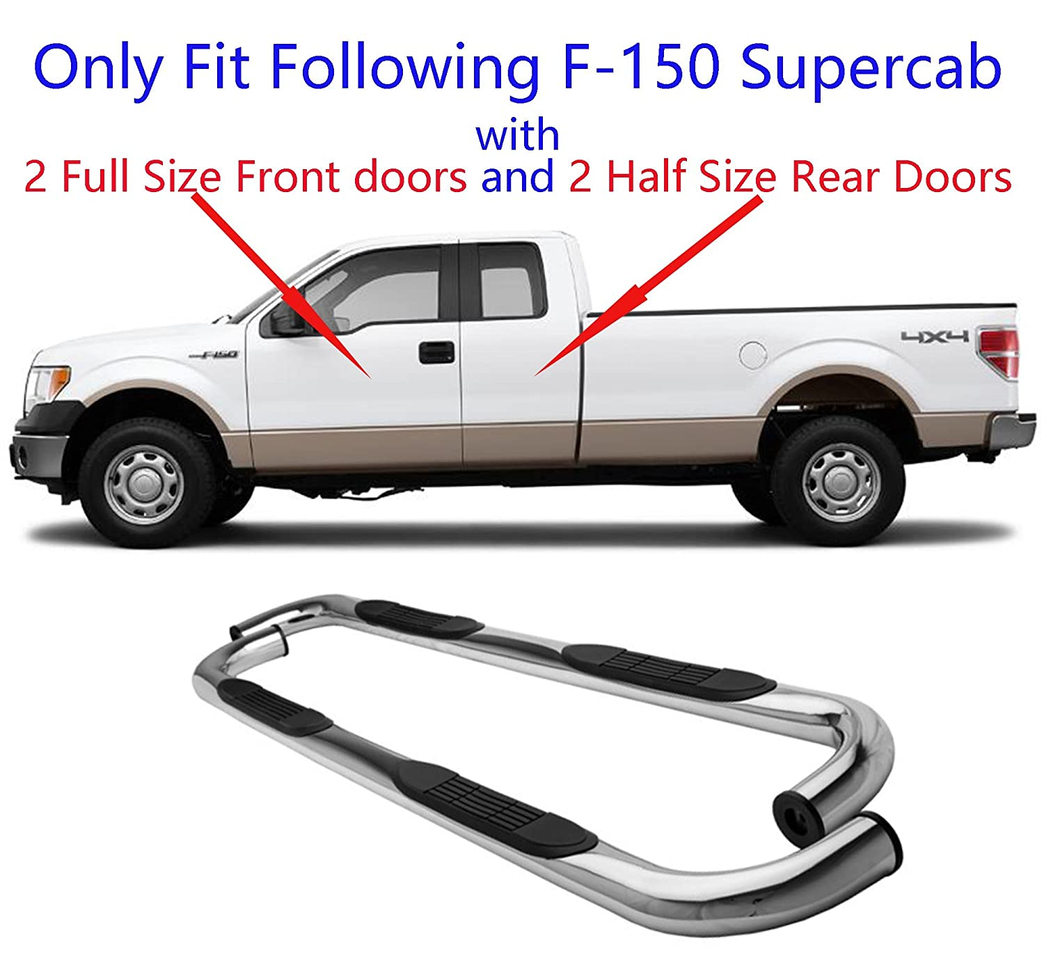 "4/"" Black Oval Curved Side Step Board Nerf Bars For 2004-2008 FORD F150 Super Cab"