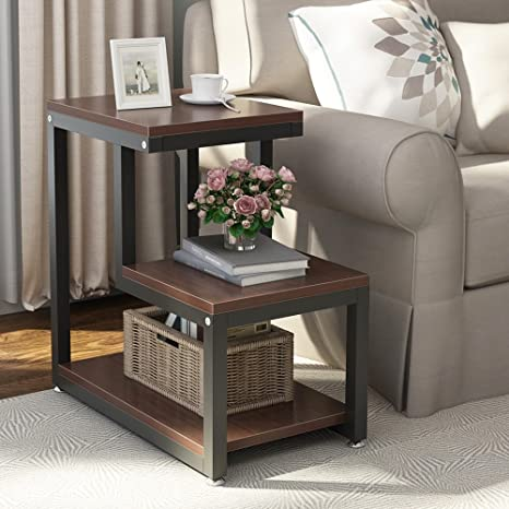 Walker Edison Rustic Farmhouse Square Wood and Metal Frame Side End Accent  Table Living Room 2 Tier Storage Shelf, Set of 2, Grey/Brown