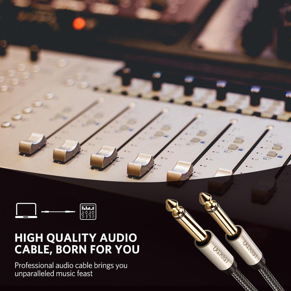 Cable de Audio Est/éreo Guitarras 1 Metro Altavoces y Amplificador Teclados UGREEN Cable Audio Nylon Trenzado Jack 6.35 mm Macho a 6.35 mm Macho con Conectores Dorados para Sintetizadores
