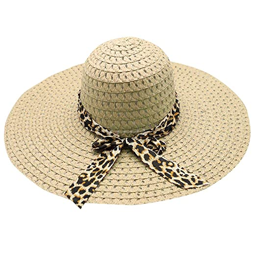 4b4622eeada43 Creazy Women Leopard Print Big Brim Straw Hat Sun Floppy Wide Brim Hats  Beach Cap (