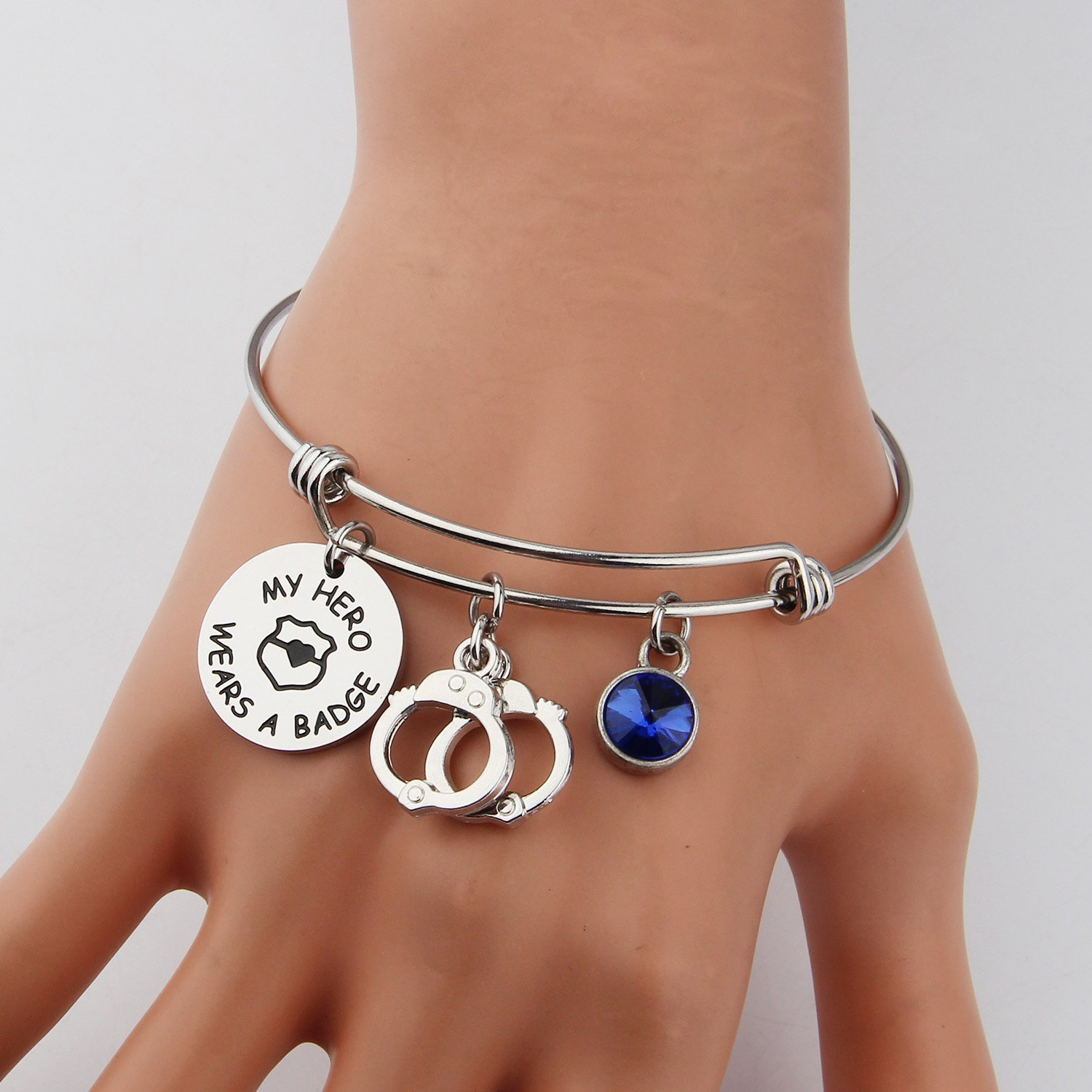 KUIYAI My Hero Wears a Badge Police Bracelet with Handcuff Charm Bracelet for Dad Mom (bracelet silver) by KUIYAI (Image #5)