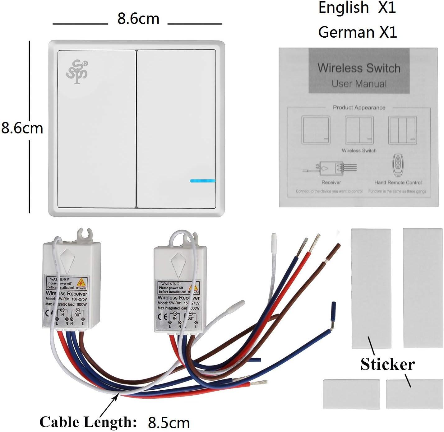 L/ámpara de techo controlada a distancia Bombillas TSSS Interruptor de luz inal/ámbrico de 3 v/ías en la barra del hotel Interruptor de radio con equipo receptor 600m exterior 40m interior