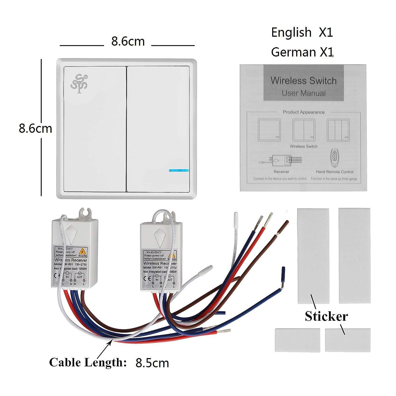 Funk Empfänger Wireless Lichtschalter Fernbedienung Switch Wandschalter Panel