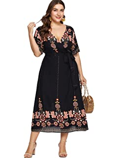 1c98b9842f053 Milumia Plus Size Short Sleeves Wrap V Neck Belted Empire Waist  Asymmetrical High Low Bohemian Party