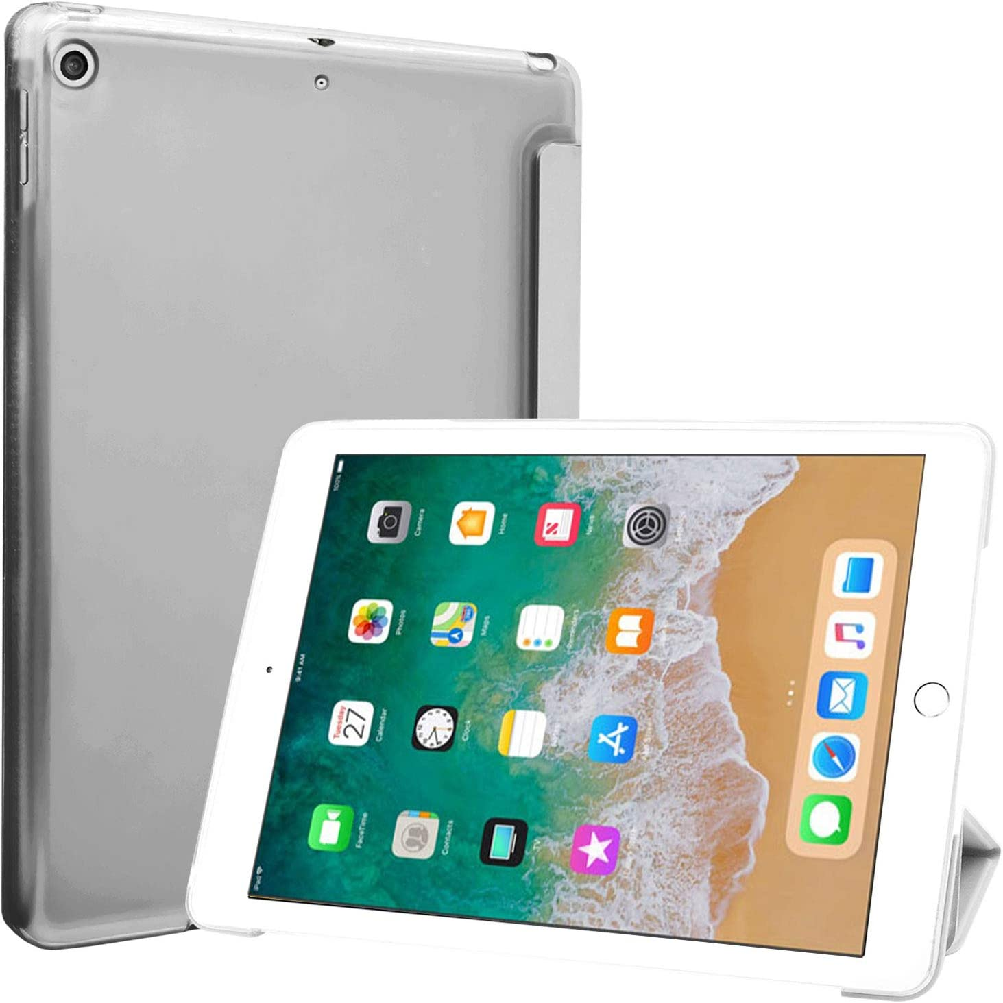 ProCase iPad 9.7 Case 2018 iPad 6th Generation Case / 2017 iPad 5th Generation Case - Ultra Slim Lightweight Stand Case with Translucent Frosted Back Smart Cover for Apple iPad 9.7 Inch –White Marble