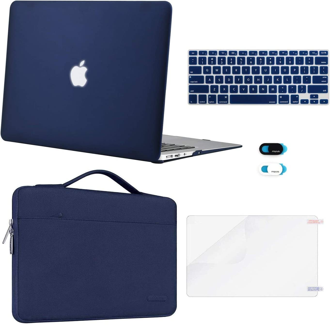 MOSISO Compatible with MacBook Air 13 inch Case (A1369 A1466, Older Version 2010-2017 Release), Plastic Hard Shell Case & Sleeve Bag & Keyboard Cover & Webcam Cover & Screen Protector, Navy Blue