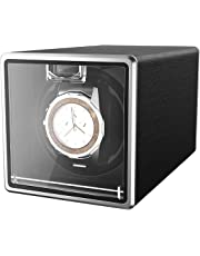CRITIRON Automatic Watch Winder Case for 1 Watch Rotating Watches Storage Display Box Black Metal