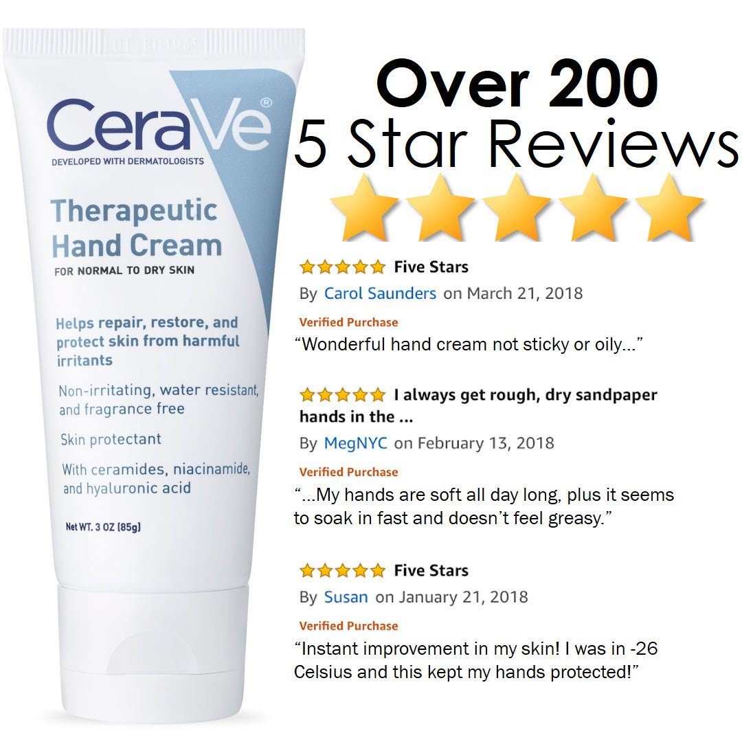 CeraVe Therapeutic Hand Cream for Dry Cracked Hands   3 Ounce   With Hyaluronic Acid and Niacinamide   Fragrance Free : Therapeutic Skin Care Products : Beauty