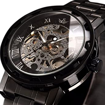 Review Watch,Mens Watch,Luxury Classic Skeleton Mechanical Stainless Steel Watch with Link Bracelet,Dress Automatic Wrist Hand-Wind Watch