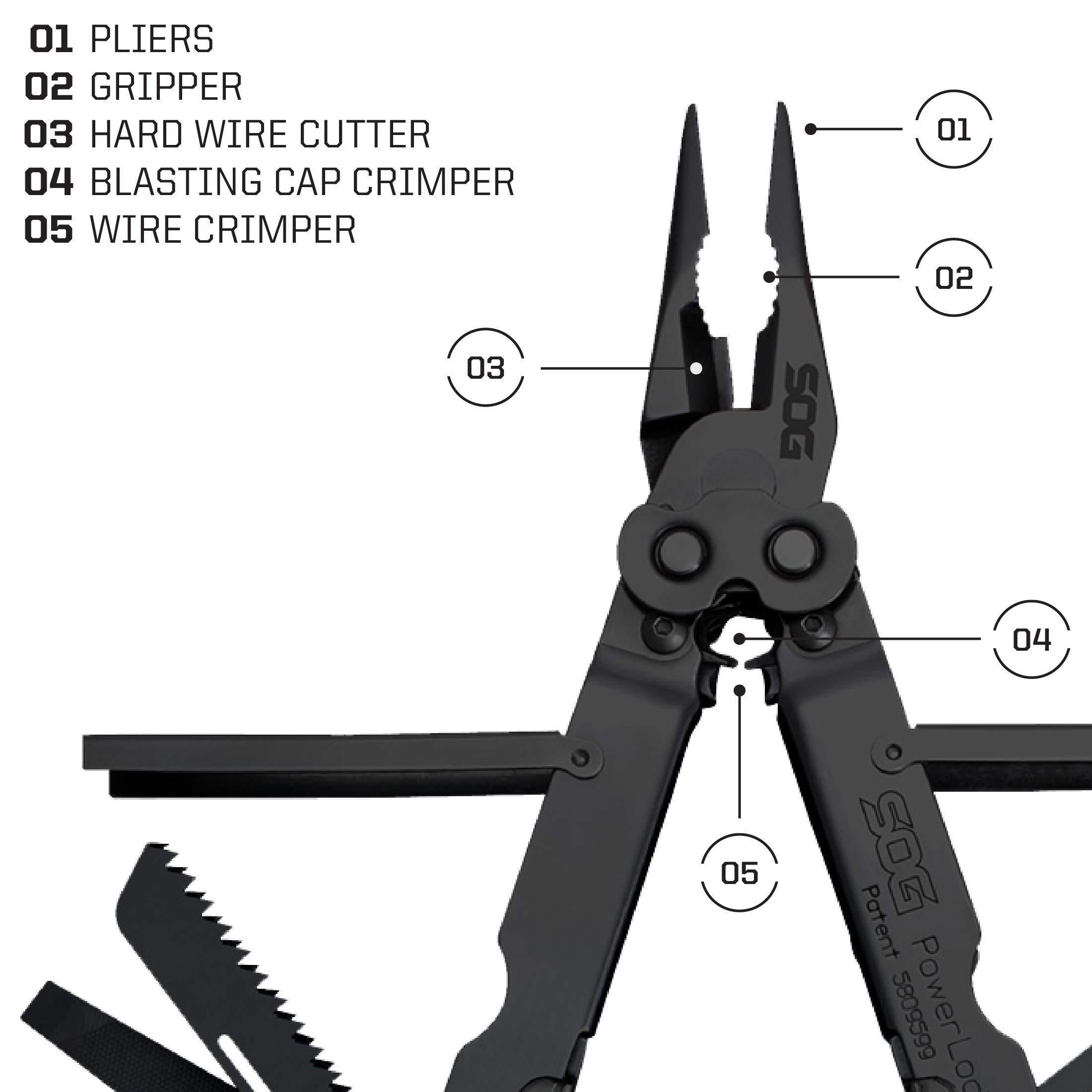 SOG Black Multitool Pliers Pocket Tool – PowerLock EOD Multi Tool Locking Knife with Sheath, Utility Tool Pliers, 18 Small Multi Tools (B61N-CP) by SOG (Image #4)
