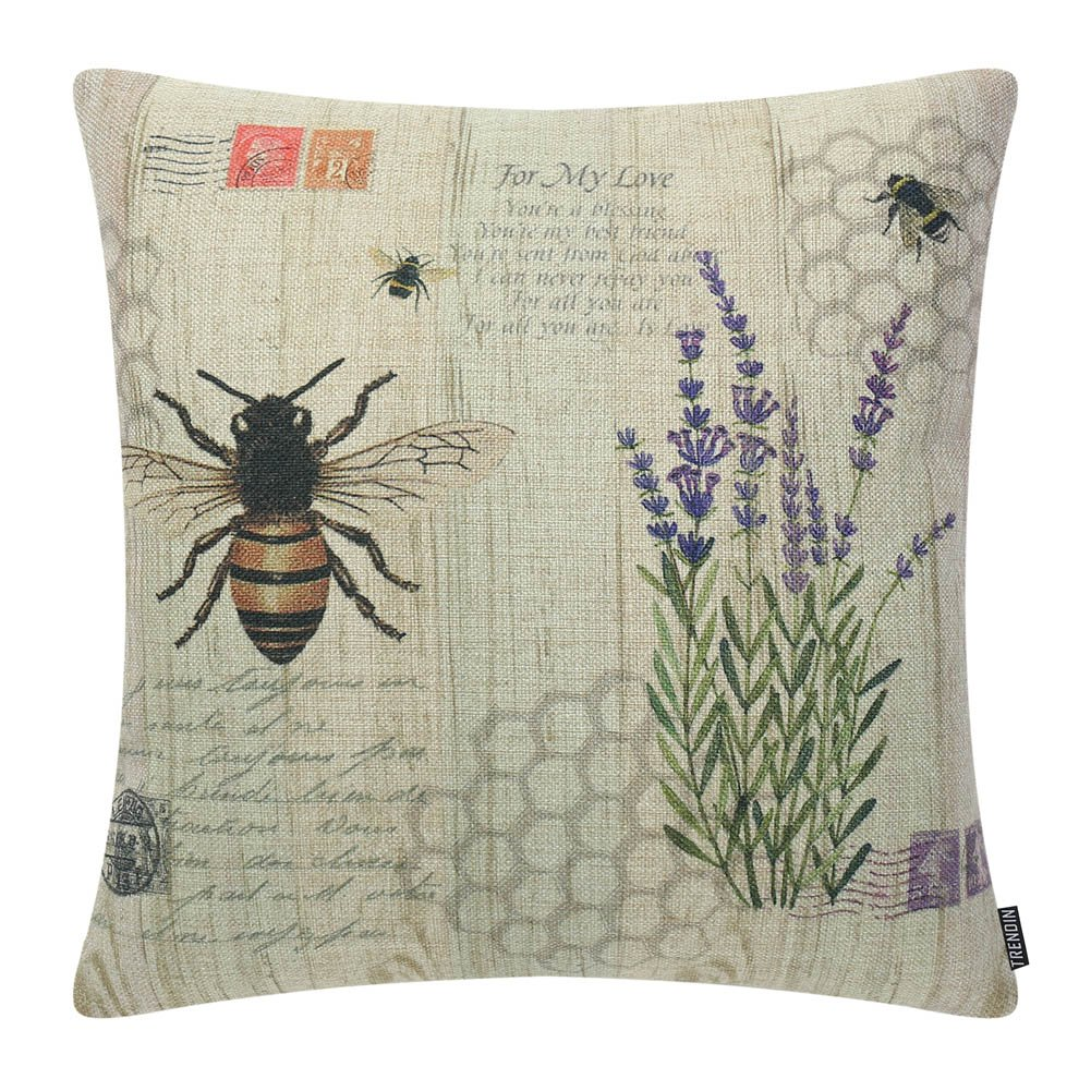 TRENDIN Lavender and Bee Decorative Throw Pillow Case Cushion Cover 18 x 18 45cm x 45cm PL184TR