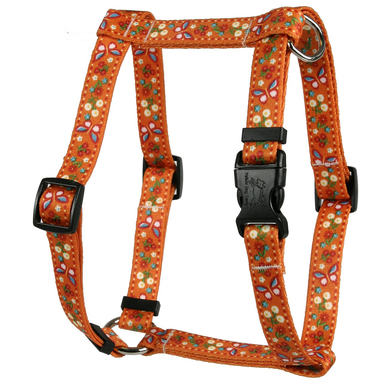 Extra Large 28\ Yellow Dog Design Festive Butterfly orange Roman Style H Dog Harness, X-Large 1  Wide