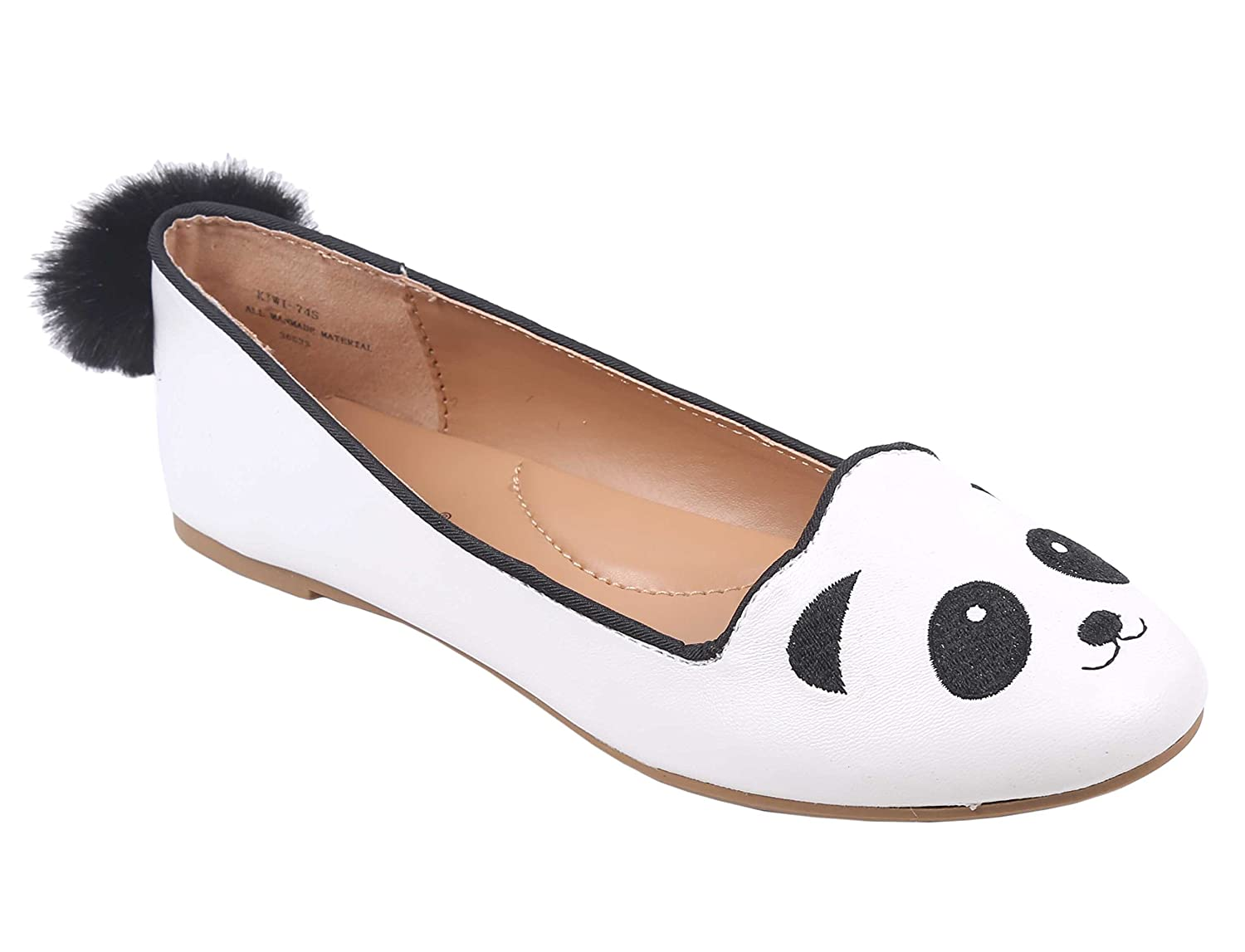 Bamboo Animal Design Closed Toe with a Furry Pompom Tail Flats Women Shoes B07CJNNPTR 7 B(M) US|Panda
