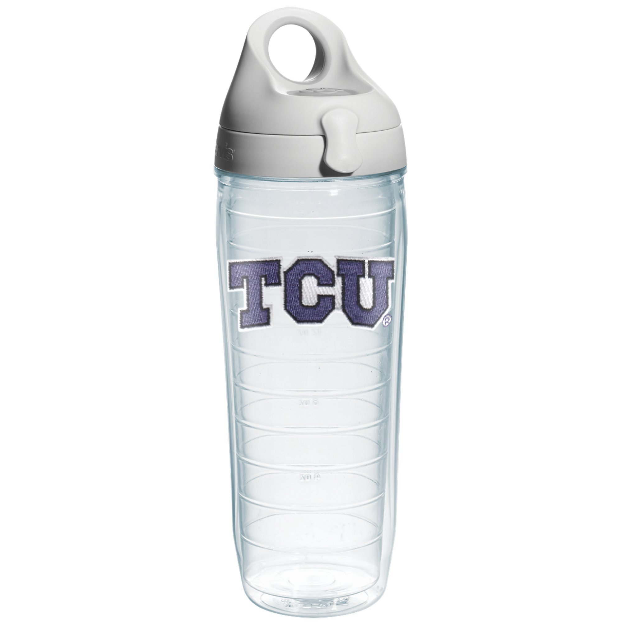 Tervis Texas Christian University Emblem Individual Water Bottle with Gray Lid, 24 oz, Clear by Tervis