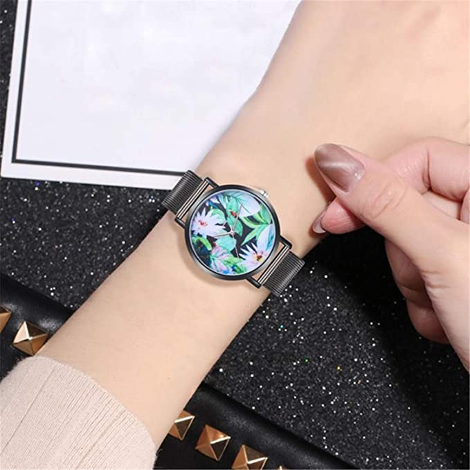 Amazon.com : Woman Fashion Watches Plant Pattern Alloy Steel Strap Analog Quartz Round Watch Clock Ladies Watch Relojes para Mujer(Black, ...
