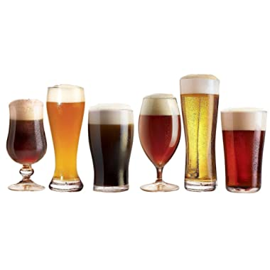 Luminarc N2561 Assorted Craft Brew Tabletop Beer Glass, Set of 6, Clear