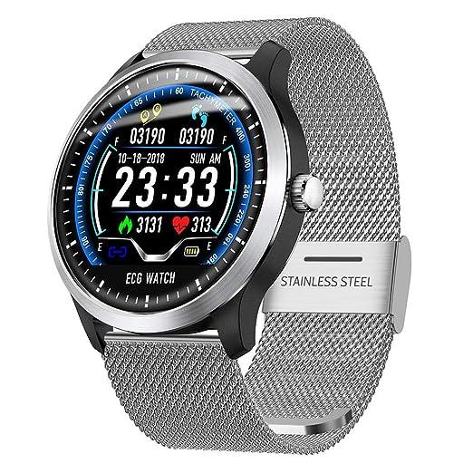 Reputedc N58 Reloj Inteligente, Reloj Deportivo ECG, ECG + PPG ECG HRV Informe Prueba de presión Arterial Ritmo cardíaco IP67: Amazon.es: Relojes