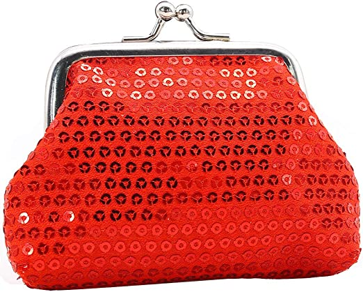 Sequin Clip Top Embroidery Patchwork Coin Purse Purse