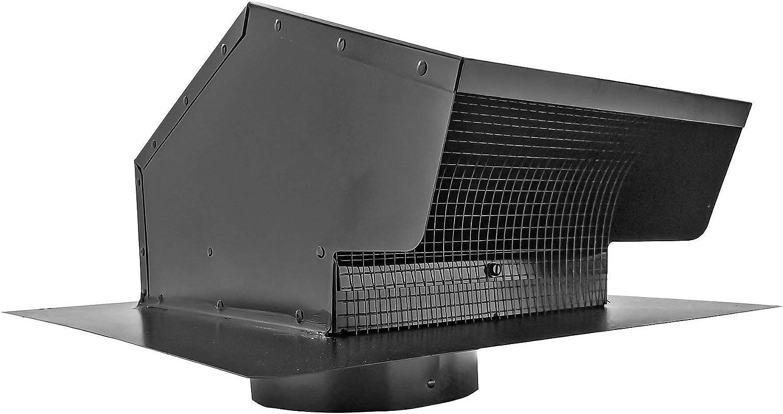 Builder's Best 012633 Roof Vent Cap, Black Galvanized Metal, with 6-inch diameter collar (Renewed)