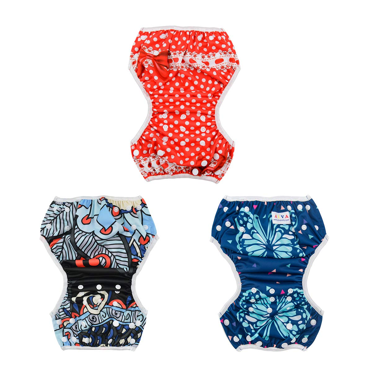 ALVABABY Swim Diapers 3pcs One Size Reuseable Washable /& Adjustable for Swimming Lesson /& Baby Shower Gifts 3SW11