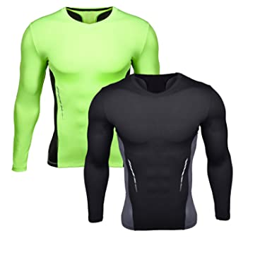 Men s Active Compression Tights Long Sleeves Slim Fit Compression Workout  Base Layers Shirts 2 Pack S 2156839f6579