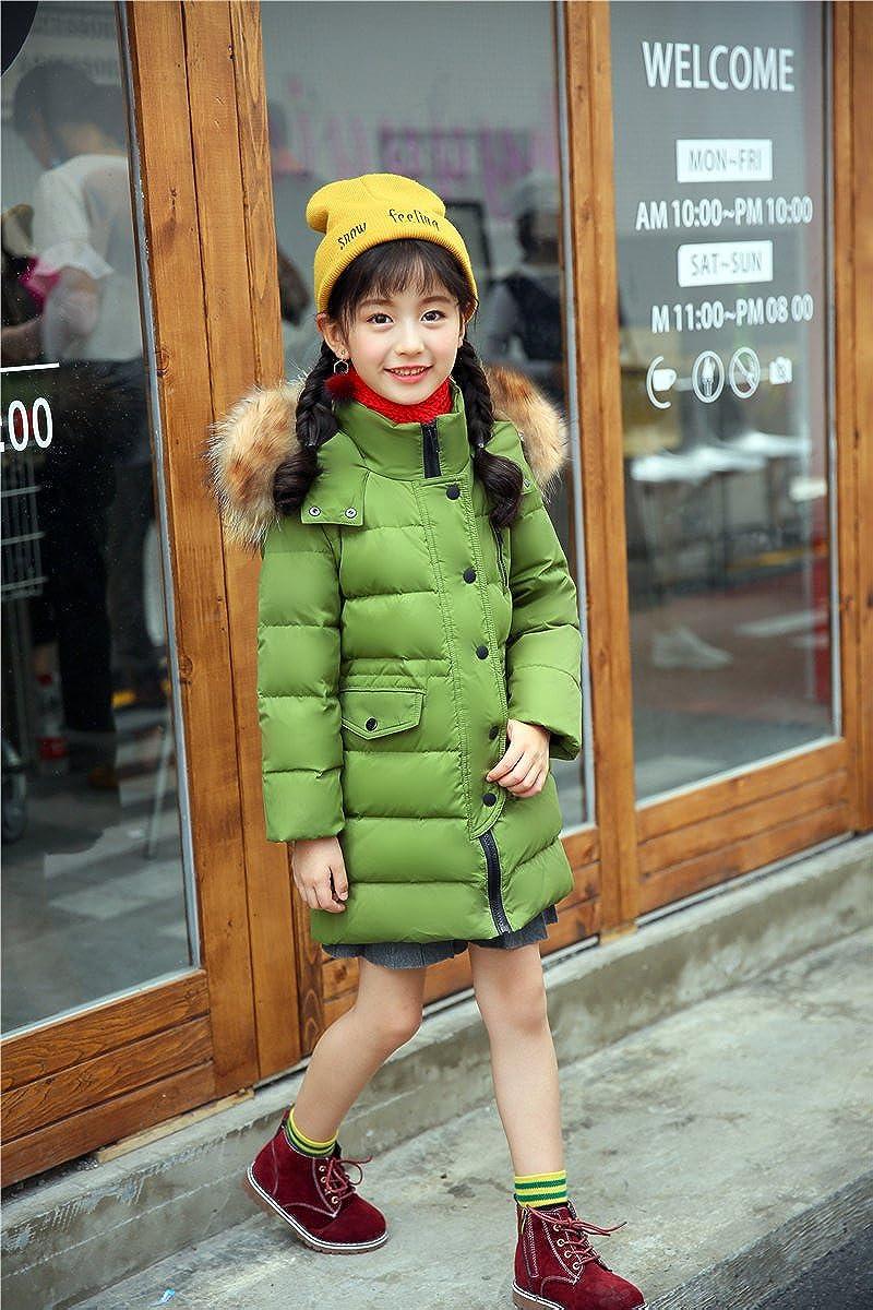 DNLSJ Kids Coat Winter Big Girls Down Puffer Jacket Parka Hood Outwear Outfit Long Thick Warm Windbreaker