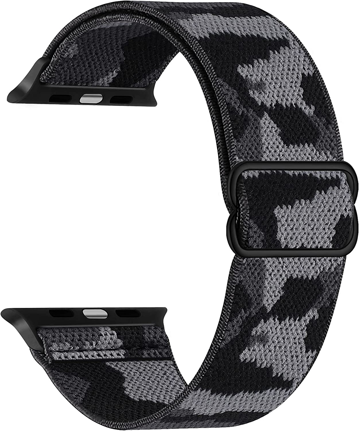 Adjustable Stretchy Band Compatible with Apple Watch 44mm 42mm 40mm 38mm, Solo Loop Sport Elastic Stretch Scrunchie Braided Cute Nylon Strap for iWatch SE 6 5 4 3 2 1, Men Women, Camo Grey