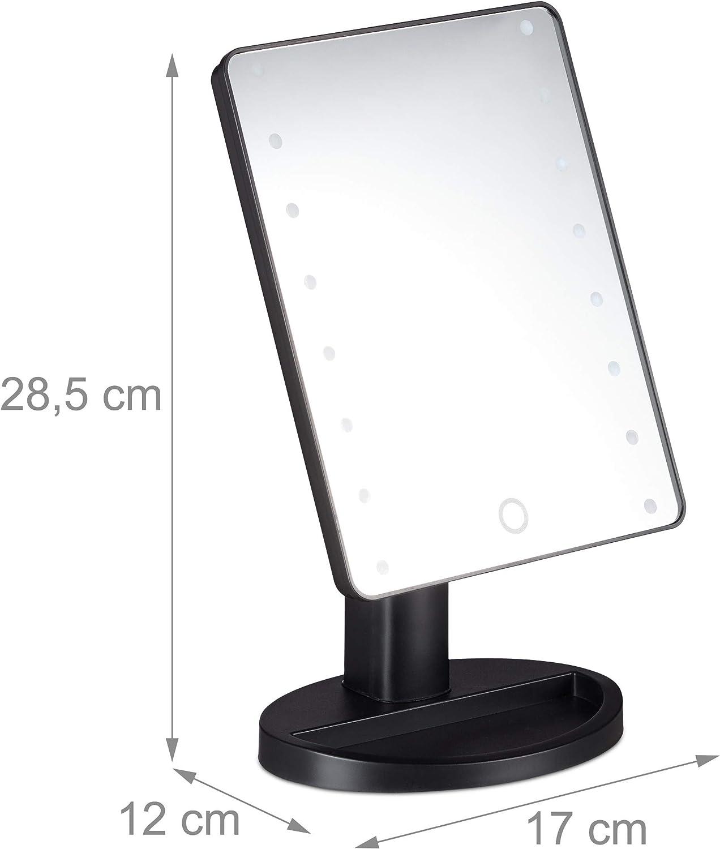 Ajustable Relaxdays Espejo de Maquillaje con LED 28,5 x 17 x 12 cm 1 Ud. 10029530 Negro con pie