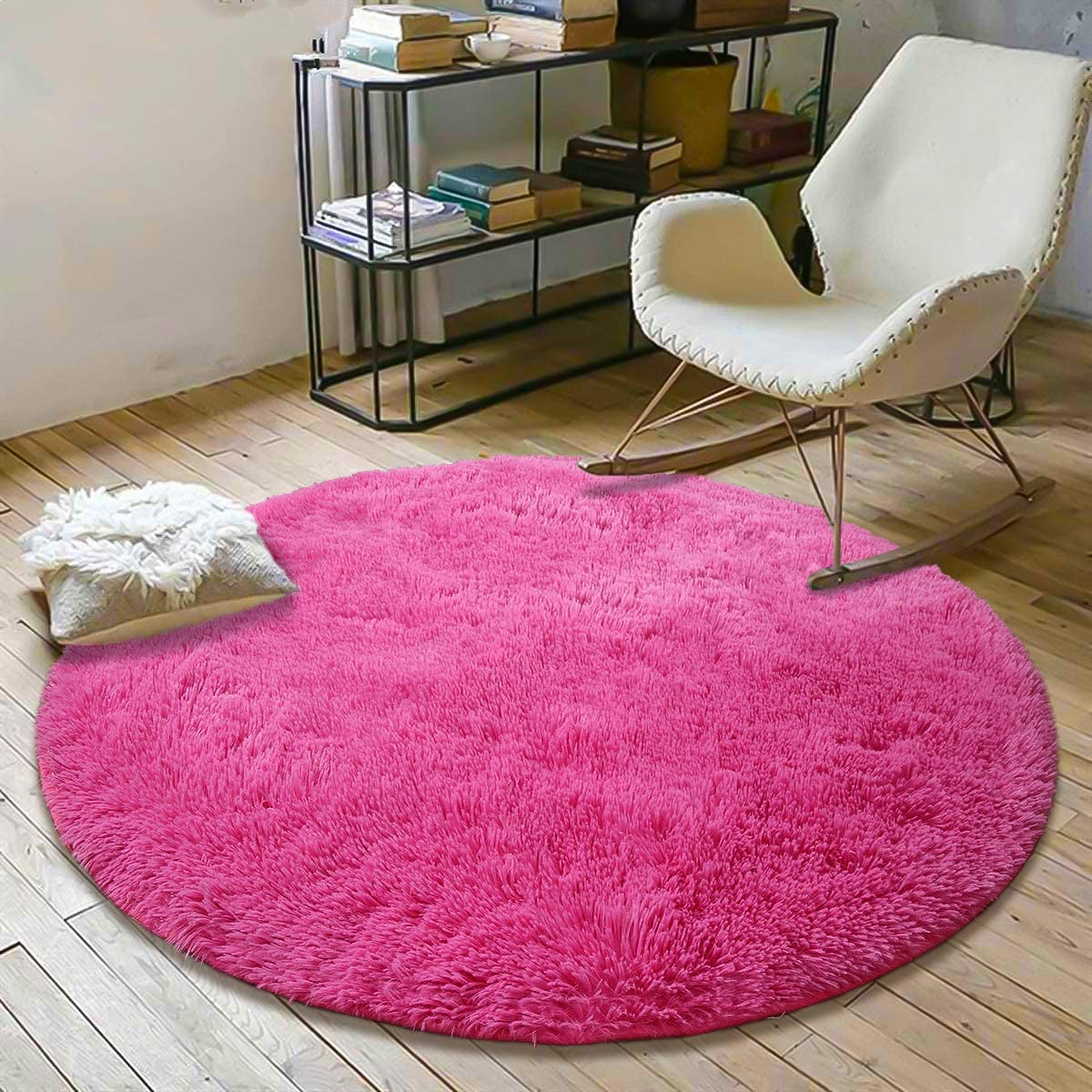 YOH Fluffy Soft Round Area Rugs for Kids Girls Room Princess Castle Plush Shaggy Carpet Cute Circle Furry Nursery Rug for Teen's Bedroom Living Room Home Decor Big Circular Floor Carpet 4'x4' Hot Pink