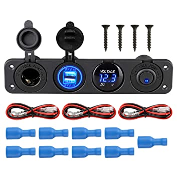 EEEKit Panel Impermeable Multifuncional 4 en 1, con Toma de Corriente de 12 V, Cargador Dual de zócalo USB, voltímetro de LED Azul, Interruptor ...