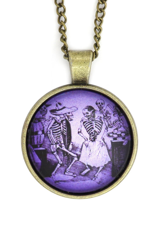 Magic Metal Dios de Los Muertos Dancing Skeletons Necklace Antique Gold Tone NX32 Human Man Lady Bones Art Pendant