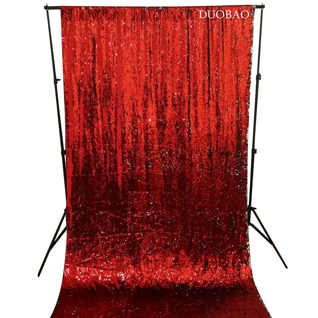 DUOBAO Sequin Backdrop 20FTx10FT Red to Silver Wedding Pics Backdrop Mermaid Reversible Sequin Photo Backdrop Baby Shower Curtains by DUOBAO (Image #4)