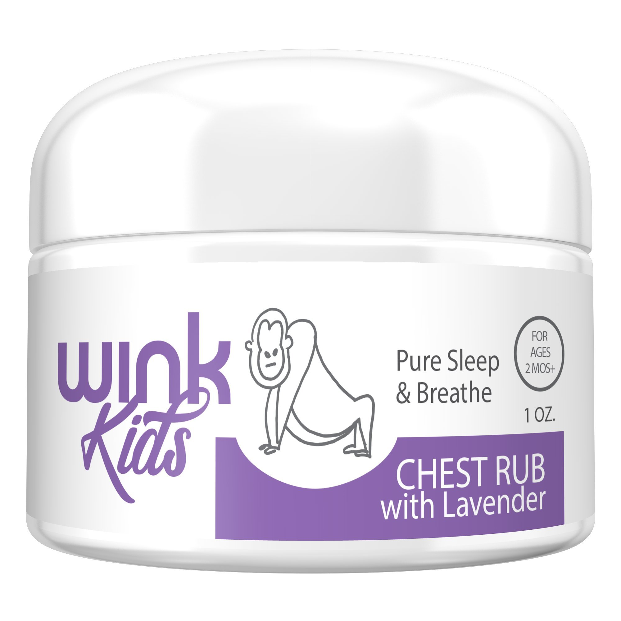 Wink Naturals Calming & Soothing PureSleep & Breathe Chest Rub, Natural Decongestant with Lavender & Eucalyptus, Petroleum-Free