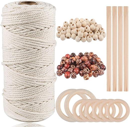 JTENG Macrame Cuerda, Cordel de Algodón,natural trenzado algodon ...