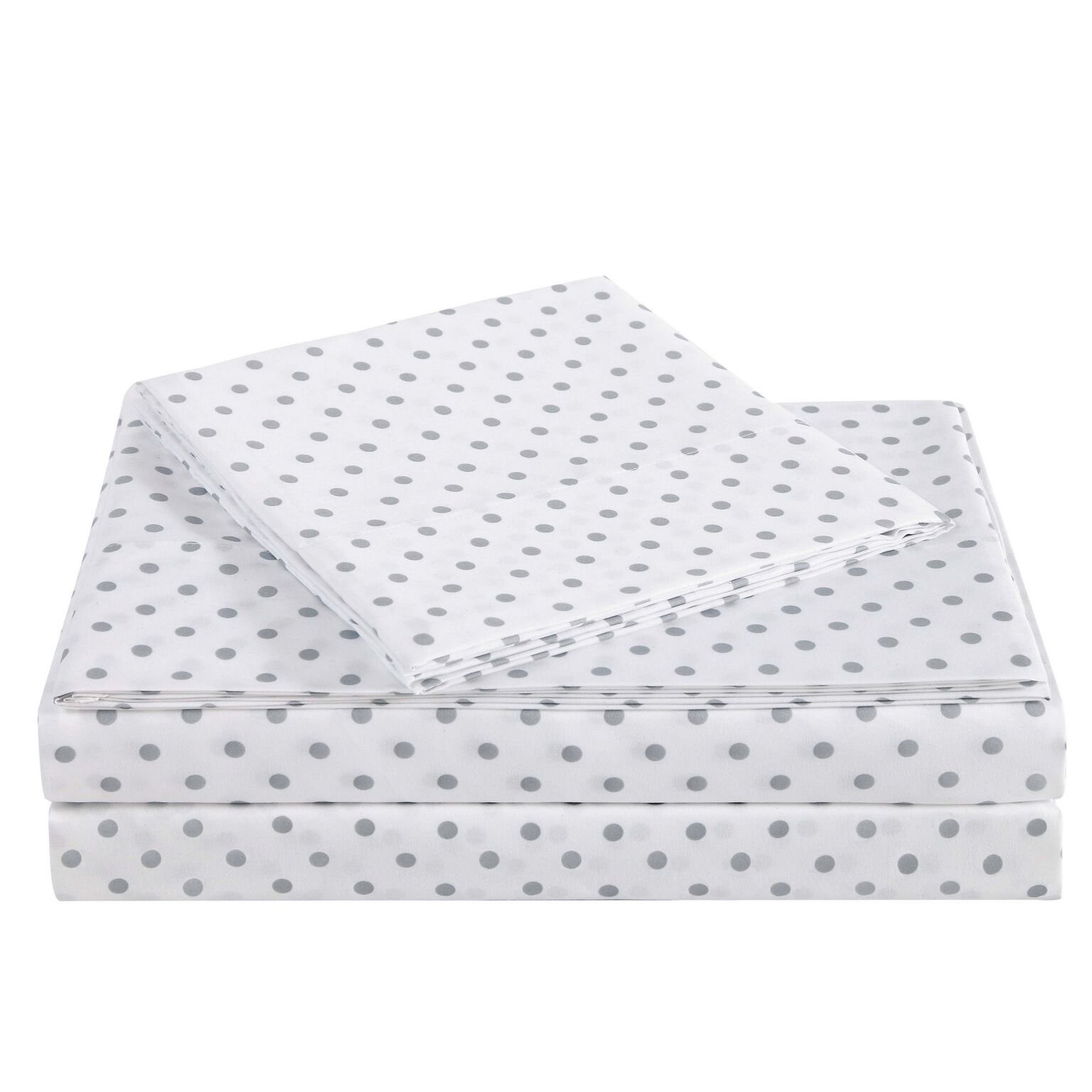 Truly Soft SS2329GYFU-4700 Everyday Printed Dot Sheet Set, Full, Grey by Truly Soft Everyday (Image #2)