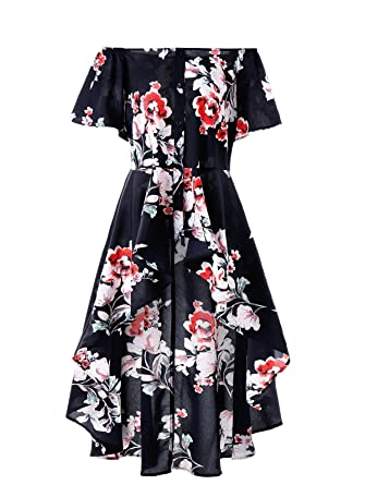 87e4907a3bc RoseGal Plus Size Off The Shoulder Floral Print Retro Fit and Flare Midi  Dress