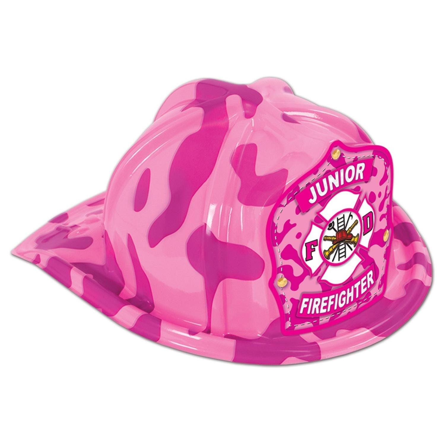 Club Pack of 48 Pink Camouflage Print Junior Firefighter Hat Costume Accessories by Party Central